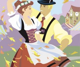Happiness couple dancing vector