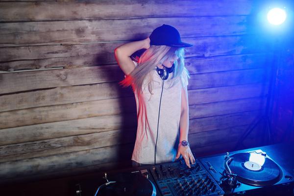 Happy DJ woman Stock Photo 01