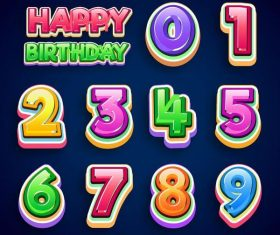 Happy birthday text with 3D number design vector