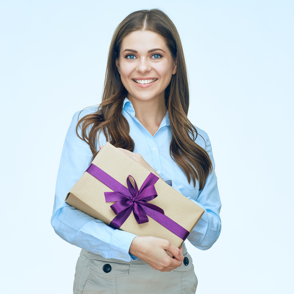 Happy business woman with gift boxes Stock Photo 01