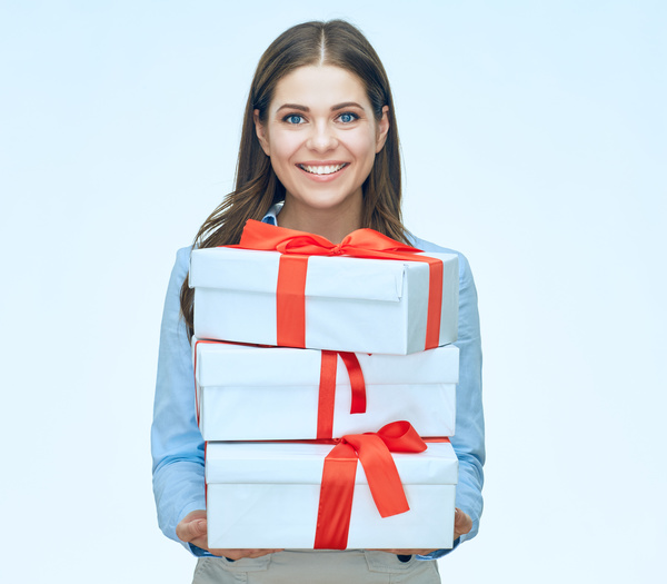 Happy business woman with gift boxes Stock Photo 03