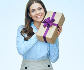 Happy business woman with gift boxes Stock Photo 04