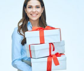 Happy business woman with gift boxes Stock Photo 05