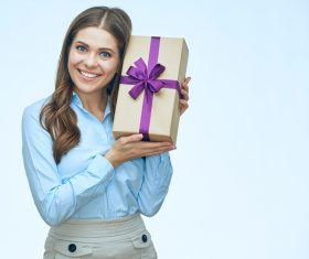 Happy business woman with gift boxes Stock Photo 06