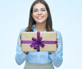 Happy business woman with gift boxes Stock Photo 07
