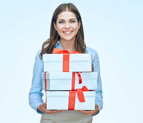 Happy business woman with gift boxes Stock Photo 08