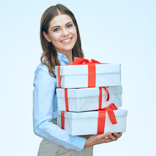 Happy business woman with gift boxes Stock Photo 10
