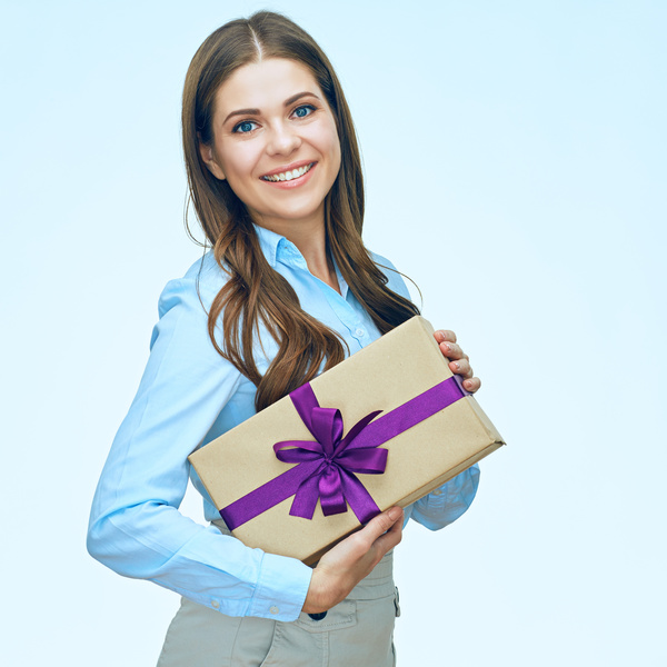 Happy business woman with gift boxes Stock Photo 11