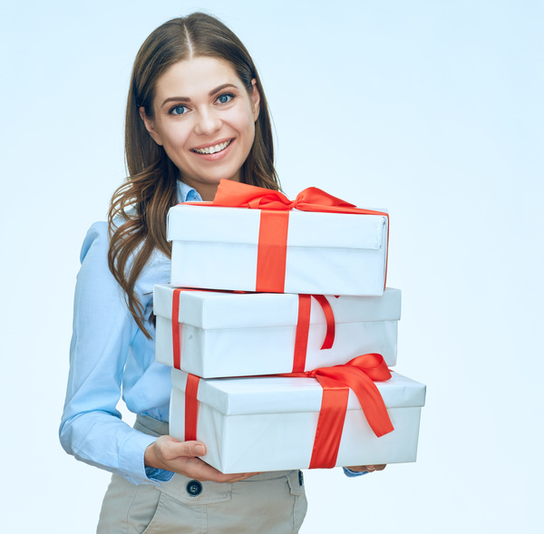 Happy business woman with gift boxes Stock Photo 12