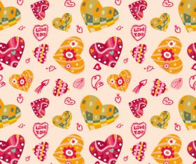 Heart decor seamless pattern vector 03