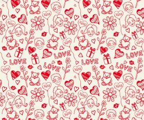 Heart with bear seamless pattern vector