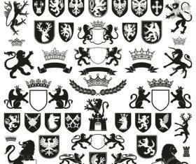 Heraldry Symbols and decorative elements vector 01