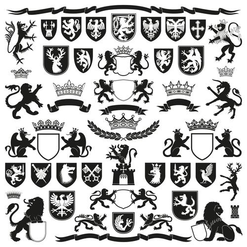 Heraldry Symbols and decorative elements vector 01 free