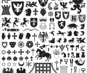 Heraldry Symbols and decorative elements vector 02