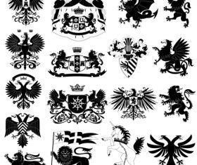 Heraldry Symbols and decorative elements vector 03