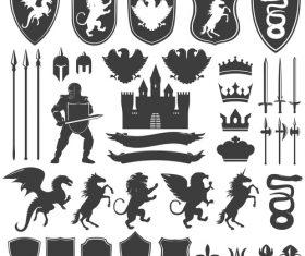 Heraldry Symbols and decorative elements vector 04