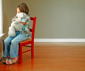 Holding teddy bears lonely children Stock Photo