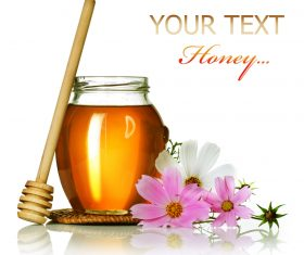 Honey in a jar with measuring tape decorated with flowers (2)