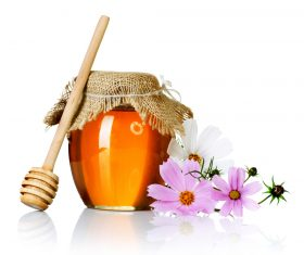 Honey in a jar with measuring tape decorated with flowers (3)