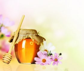 Honey in a jar with measuring tape decorated with flowers (4)