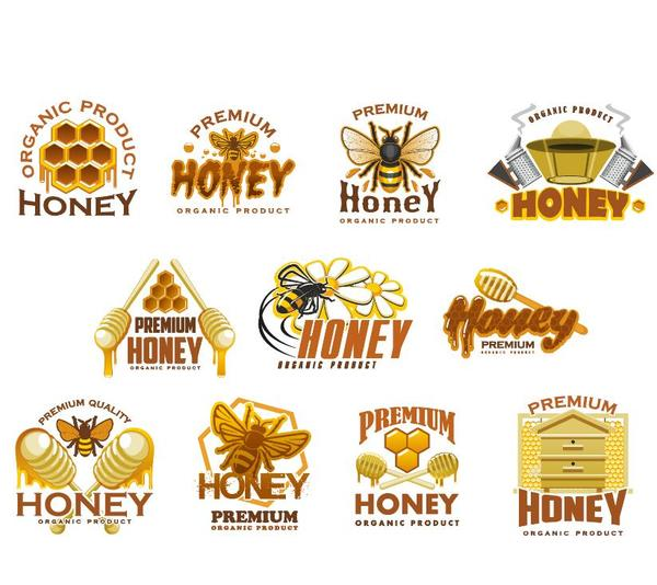 Honey logo with labels vector set