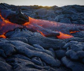 Hot lava on volcano area Stock Photo