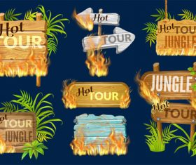 Hot tour jungle wooden sign with fire flame and leaves vector 01