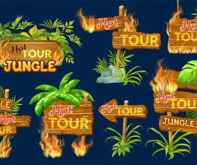 Hot tour jungle wooden sign with fire flame and leaves vector 02