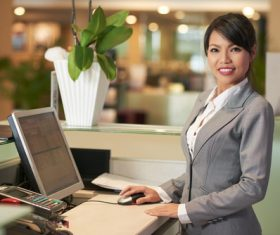 Hotel front desk attendant Stock Photo 02