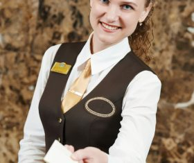 Hotel front desk attendant Stock Photo 03