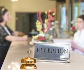 Hotel service bell close-up Stock Photo 03