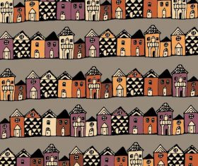 Houses streets seamless pattern vector material 02