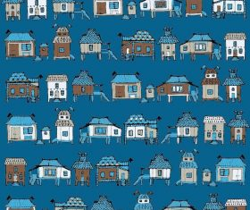 Houses streets seamless pattern vector material 03