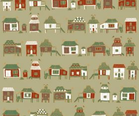 Houses streets seamless pattern vector material 04