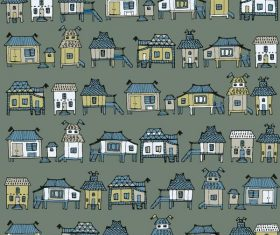 Houses streets seamless pattern vector material 05