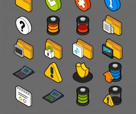 Interface – isometric outline color icons