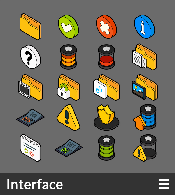 Interface   isometric outline color icons