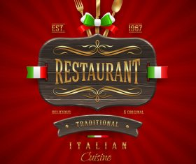 Italian restaurant menu cover with vector