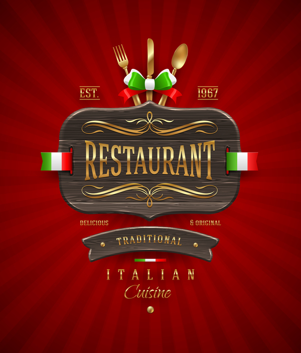 Italian restaurant menu cover with vector free download