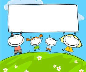 Kids with blank frame hand drawn cartoon vector 01