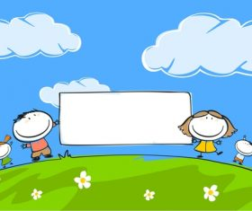 Kids with blank frame hand drawn cartoon vector 02