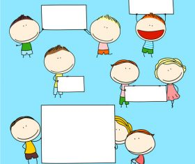 Kids with blank frame hand drawn cartoon vector 03