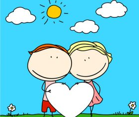 Kids with heart cartoon vector