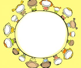 Kids with round frame hand drawn cartoon vector