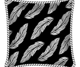 Leaves pattern pillow template vector 01