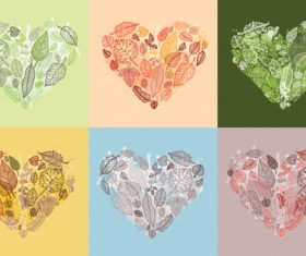 Leaves with heart illustration vector