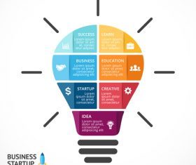 Light bulbs idea infographics template vector 01