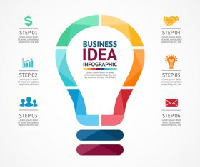 Light bulbs idea infographics template vector 02