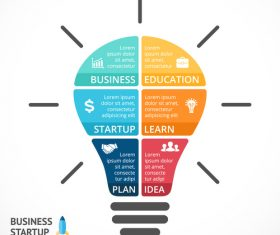 Light bulbs idea infographics template vector 03
