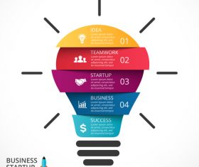 Light bulbs idea infographics template vector 04